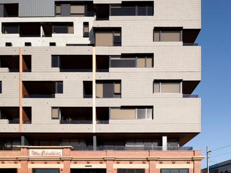 The Lyric's Brick Inlay façade of Ash Grey tiles pays homage to Fitzroy's industrial character