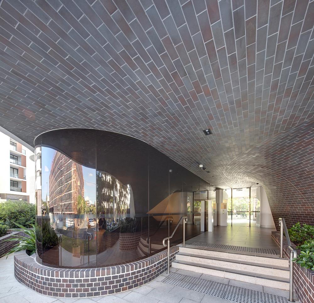 Midnight Blue thin brick tiles, Eve Apartments Erskineville