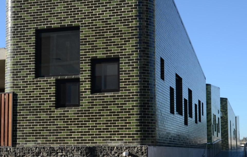Glazed bricks, grey and green blend