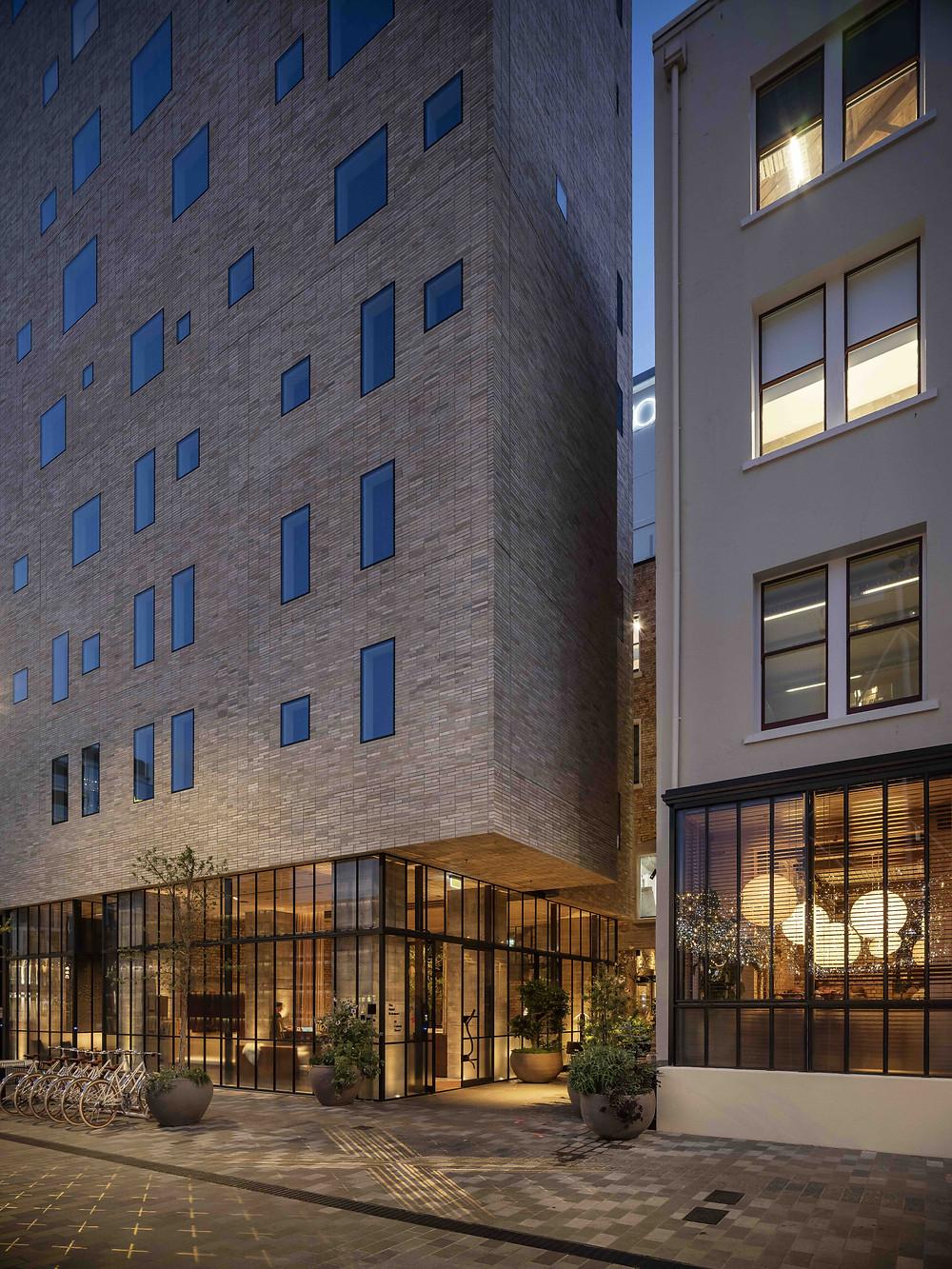 The Hotel Britomart's Brick Inlay facade is spectacular