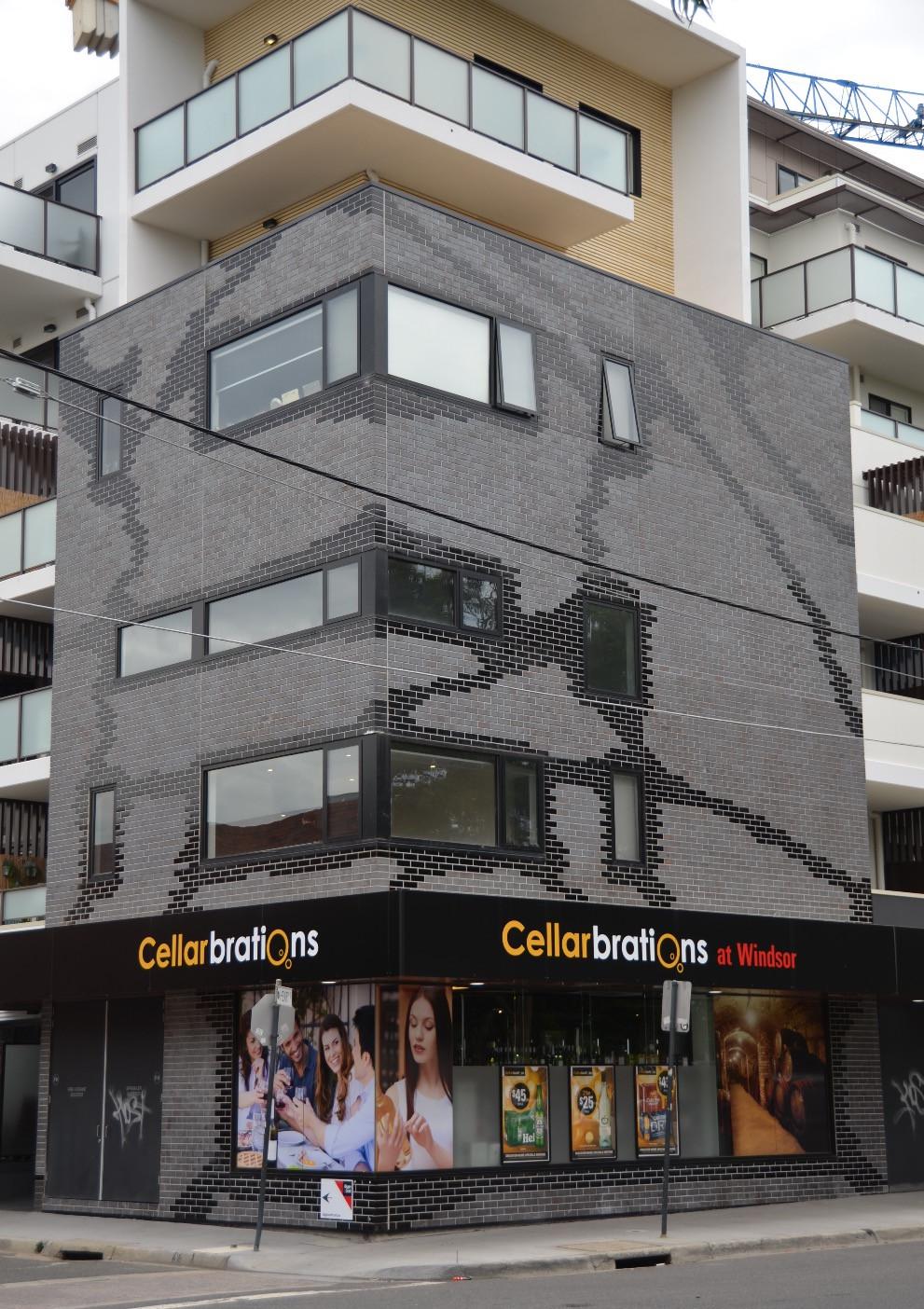 Blue Grey Brick facade, Henry Windsor Apartments
