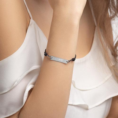Love Whimsy Engraved Silver Bar String Bracelet