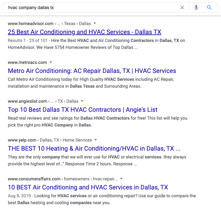 HVAC SEO Organic Rankings