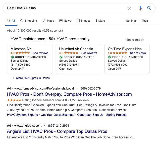 HVAC SEO Google ADs