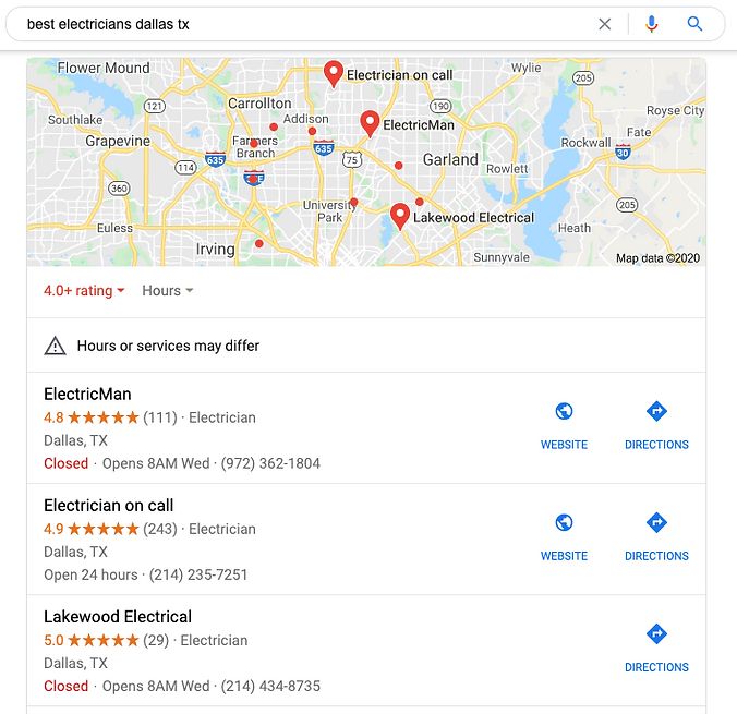 Electrician SEO Google Map Listings
