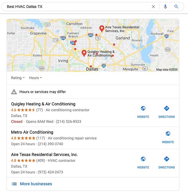 HVAC SEO Google Map Listings