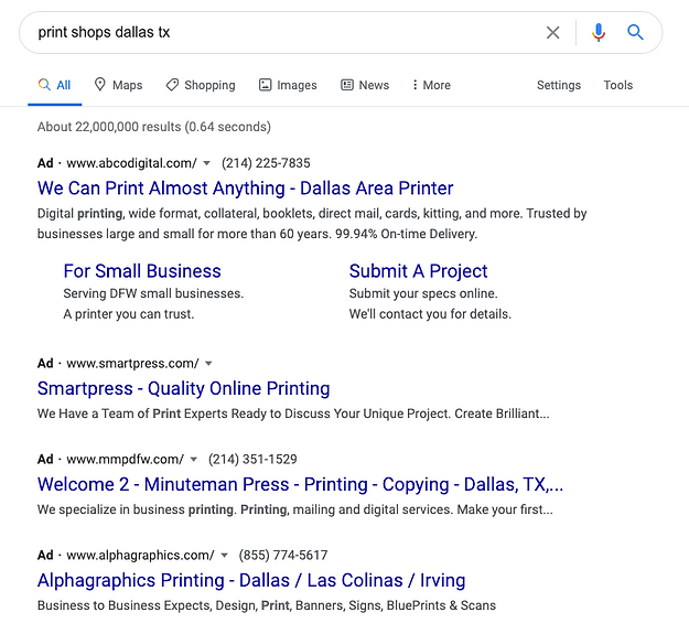 SEO for Printing Company
