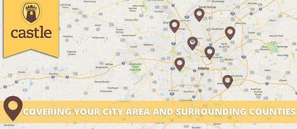 Castle Roofing Atlanta Service Area Map