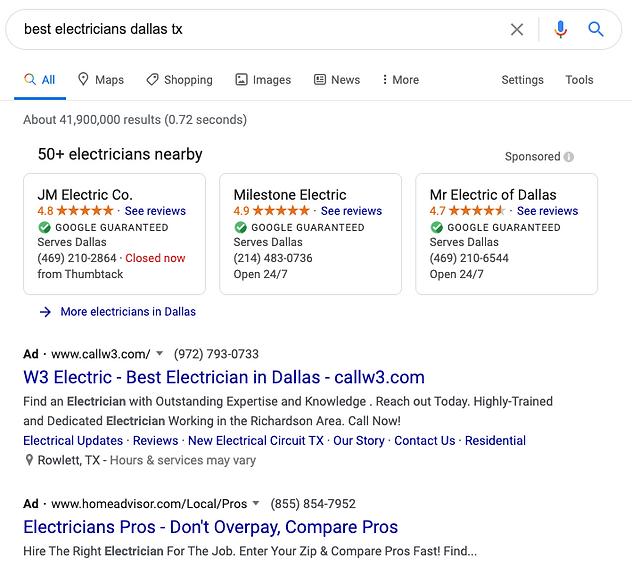 Electrician SEO Google Ads