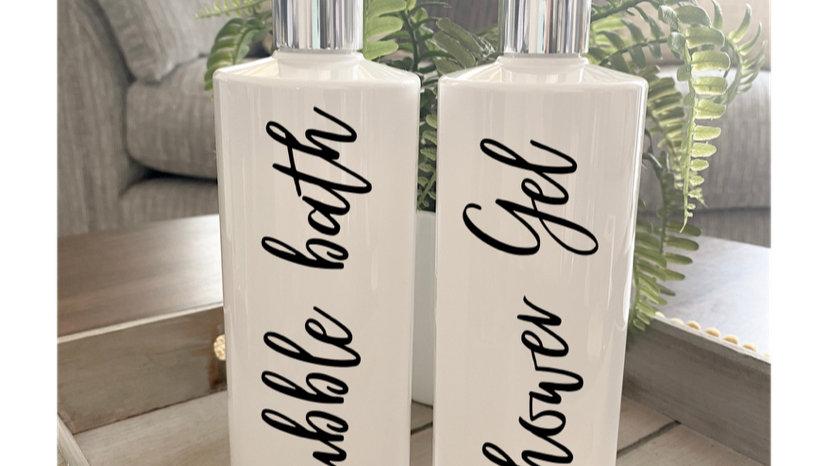 Single Reusable Pump Bottles - 500ml  (White)