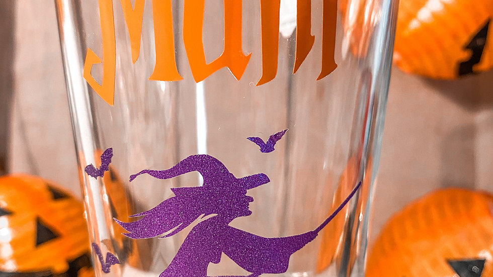 Halloween Water/Wine Glass with Personalised Name and Decal