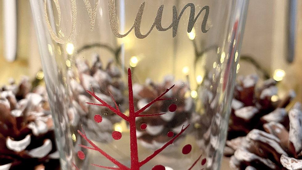 Personalised Christmas Glass, water glass, wine glass, variety of decals and fon