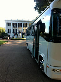 Limousine Party Bus - outside President's Mansion on UA Campus