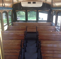 Inside of vintage Trolley