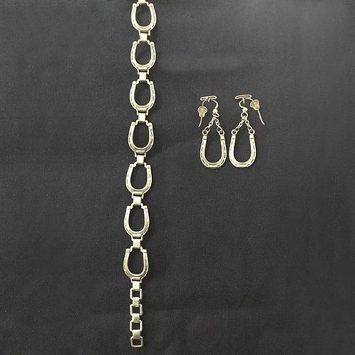 Horse Shoe Bracelet and Earrings