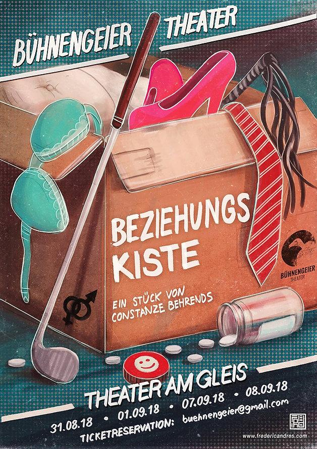 Beziehungskiste Party Flyer Illustration Theater