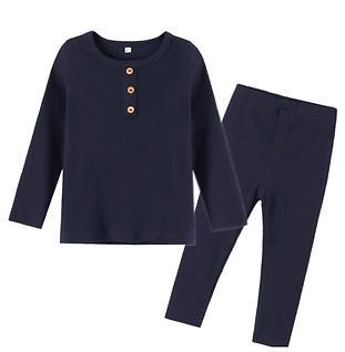 Navy Ribbed Organic Cotton Pyjamas