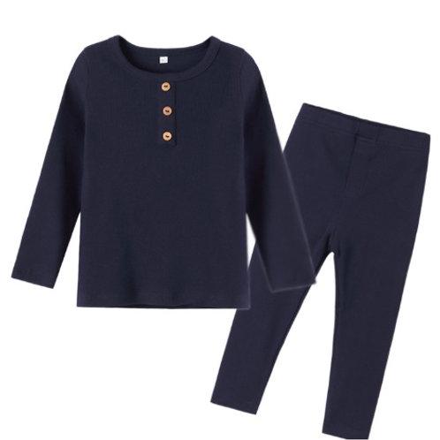 Navy Ribbed Organic Cotton Pyjamas