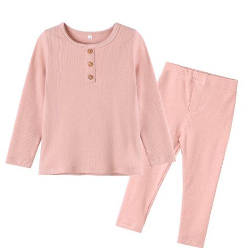Pink Ribbed Organic Cotton Pyjamas