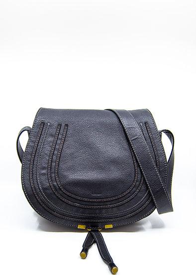 CHLOÉ Marcie Medium Bag in Black Grained Calfskin