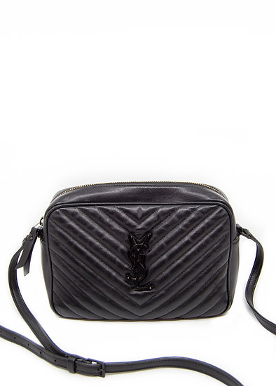 SAINT LAURENT Lou Camera Bag in Black Quilted Leather