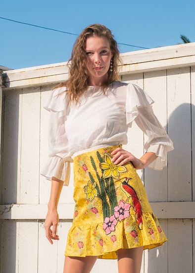 GUCCI Yellow Jacquard and Embroidery Skirt (Size 46)