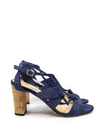 JIMMY CHOO Block Heel Sandal in Denim (Size 38)