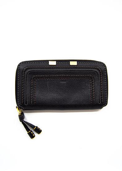 CHLOÉ Marcie Long Wallet in Black Grained Calfskin