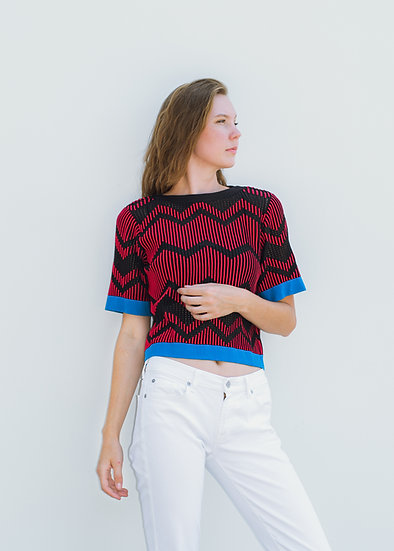 MISSONI Red and Black Knit Top (Size S)