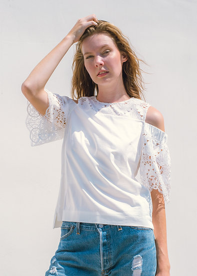TED BAKER White Off-the-Shouler Lace Top (Size 2)