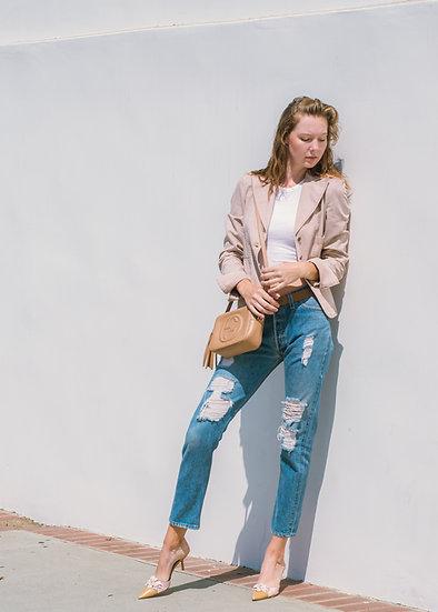 CHANEL Dusty Pink Denim Jacket (Size 36)