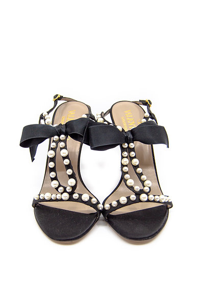 VALENTINO Pearl and Bow Accent Slingback Heel (Size 40.5)
