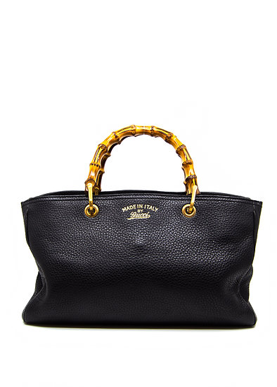 GUCCI Shopper Tote with Black Leather and Bamboo Handles