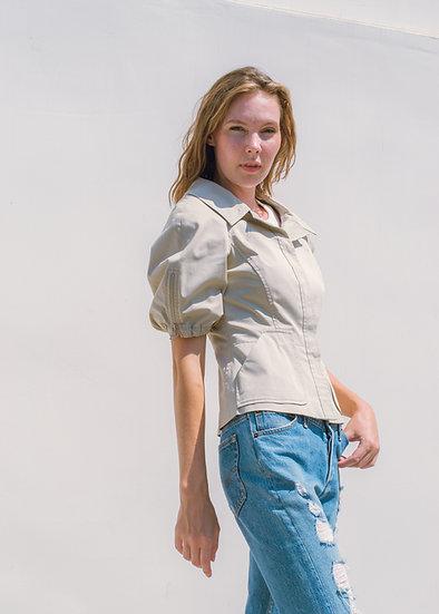 PRADA Beige Puff Sleeve Jacket (Size 12)