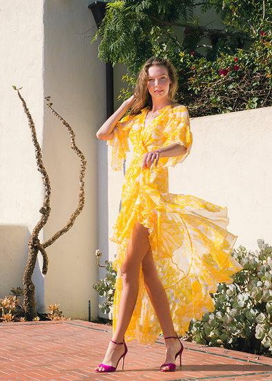 TADASHI SHOJI Yellow Ruffle Gown (Size 4)
