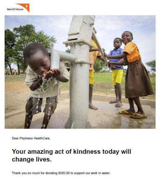 World Vision water donation