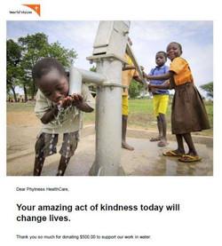 World Vision water donation