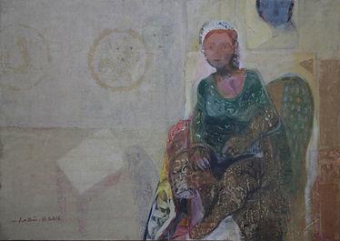 Sitting Woman 60x85 Mixed Media on Canva