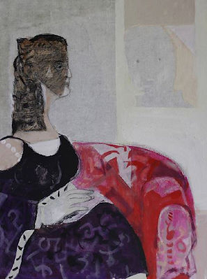 On Red Chair 80x60 Mixed Media on Canvas