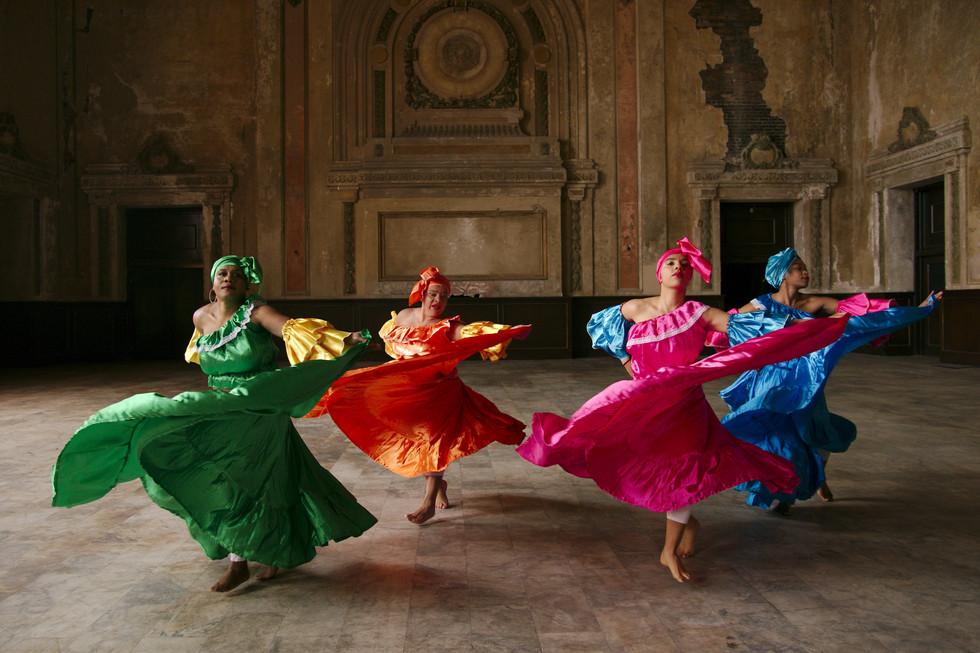 (left to right) Laure Fluerentin, Mariella Morales, Gabriella brito, Tahjanee singleton of Alafia Dance Ensemble by Andy Mogg