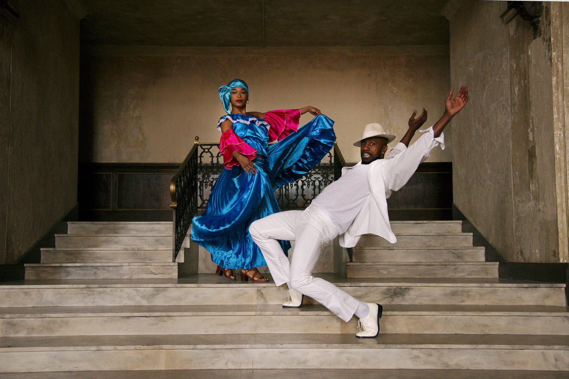 Tahjanee singleton of Alafia Dance Ensemble and Denmis Bain Savigne of Alayo Dance Company by Andy Mogg