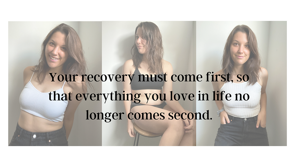 Your recovery must come first, so that e