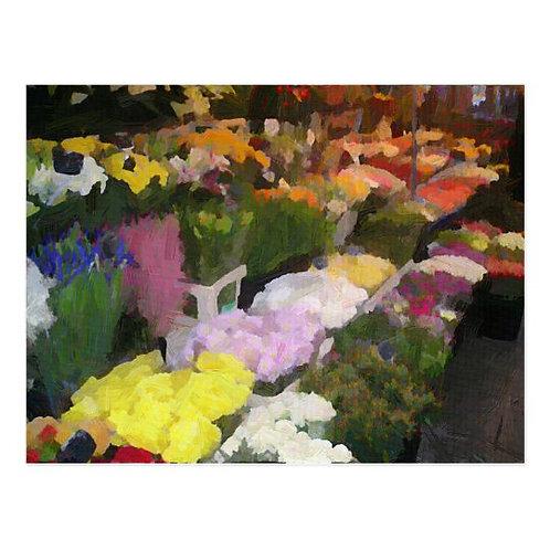 Paris Flower Market Postcard-Blank