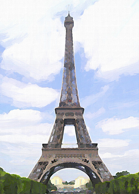 Eiffel Tower with Green