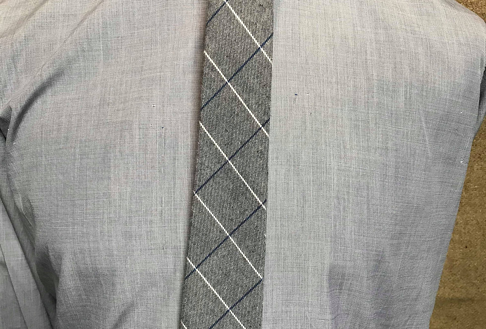 Grey, White and Blue Striped Tie. Vintage Style