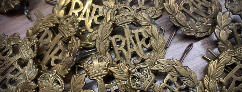 Original Royal Air Force Brass Cap Badge (Kings Crown)