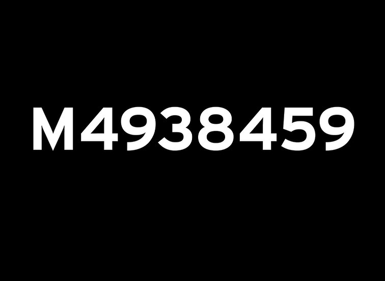 Pair of M numbers for small vehicles Jeep etc