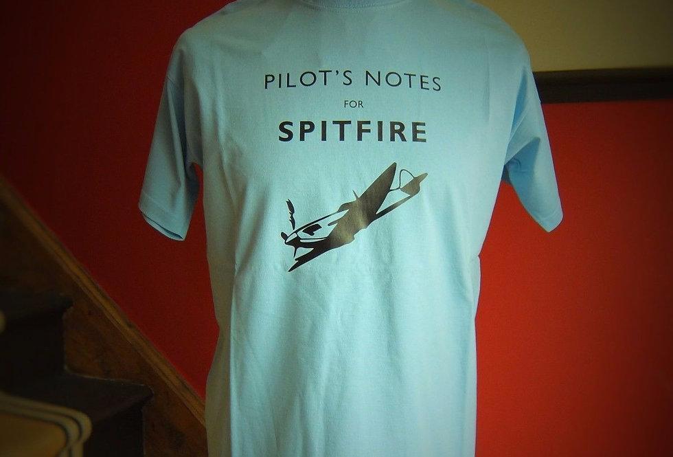 Spitfire Pilots Notes T Shirt