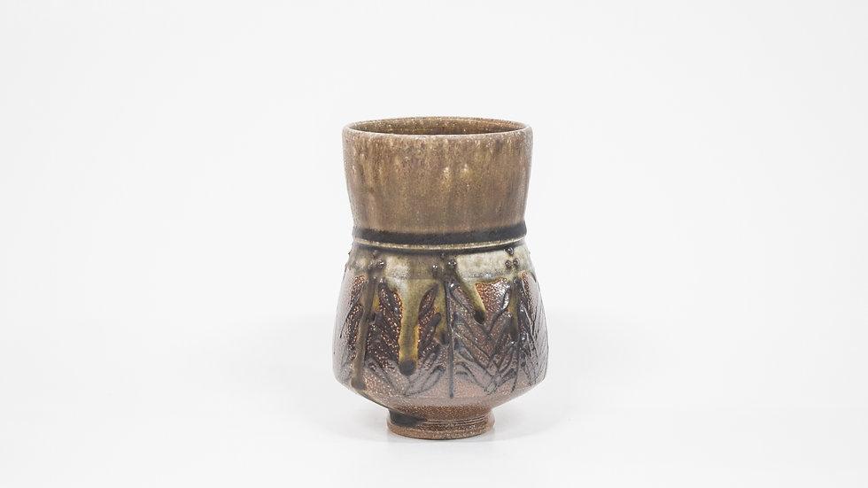 Wood Fired Salt Glazed Juice/Wine Tumbler, Dark Palm Design