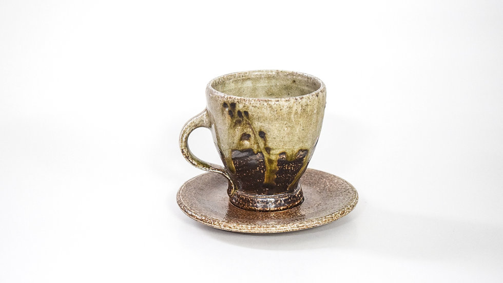 Wood Fired Salt Glazed Tea Cup, Black Palm Design in Green